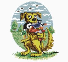 8-BIT DOG HUNTS DUCK Kids Tee