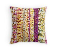 Plumeria leis in Pink & Purple Throw Pillow