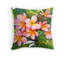 Pink Plumeria Tree Throw Pillow