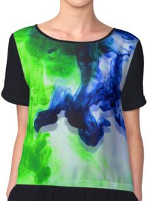Blue and green ink Chiffon Top