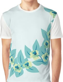 Green Flowers and Leaves Floral Print Graphic T-Shirt
