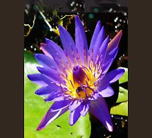 Purple water lily vertical view Womens Fitted T-Shirt