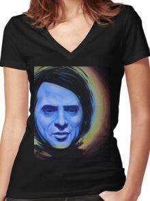 Pale Blue Dot Women's Fitted V-Neck T-Shirt