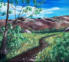 Summer Field and Mountains by Anastasiya Malakhova