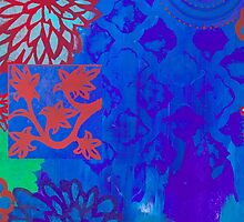 Indigo Zen multi-patterned stenciled blue print  by JodiFuchsArt