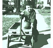 Wagon play Time Black and White Photographic Print