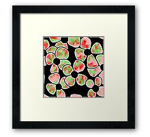 Shadow Flowers - Red and Green Framed Print