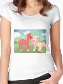 Fluttershy x Big Macintosh Ship Women's Fitted Scoop T-Shirt