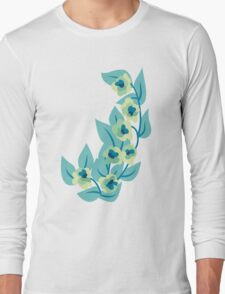 Green Flowers and Leaves Floral Print Long Sleeve T-Shirt