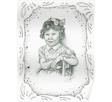 Self - Portrait - Age 3 - B and W - with Boarder Poster