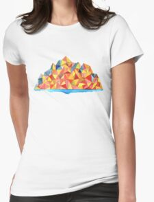 Colorful Geometric Watercolor Mountain Range Womens Fitted T-Shirt