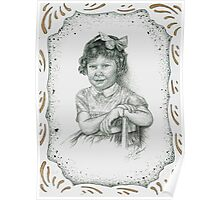 Self - Portrait - Age 3 - Bronze - with Boarder Poster