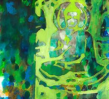 Meditating Buddha contemporary spiritual abstract by JodiFuchsArt