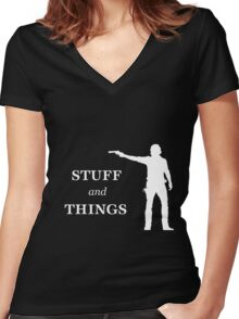Rick Grimes - Stuff and Things Women's Fitted V-Neck T-Shirt