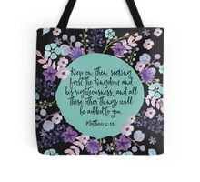 MATTHEW 6:33 (Purple Flowers) Tote Bag