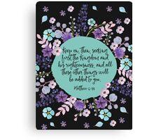 MATTHEW 6:33 (Purple Flowers) Canvas Print