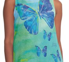 Blue Butterflies Watercolor by Jan Marvin Contrast Tank