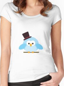 Cute Owl with Hat Women's Fitted Scoop T-Shirt