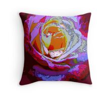 Rose with Raindrops Digital Version Throw Pillow