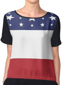 Women's Graphic T-Shirt Dress Patriotic Red White and Blue Chiffon Top