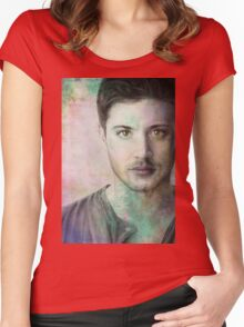 Jensen Ackles - Dean Winchester Pencil Portrait 3 Women's Fitted Scoop T-Shirt