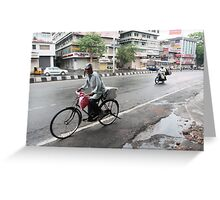 Cyclists in Abids Street Hyderabad Greeting Card