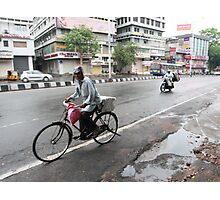Cyclists in Abids Street Hyderabad Photographic Print