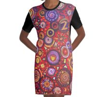 Red Square Abstract Painting Graphic T-Shirt Dress