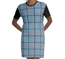 Ice and Fire Tartan Graphic T-Shirt Dress