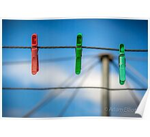 Pegs on the line. Poster