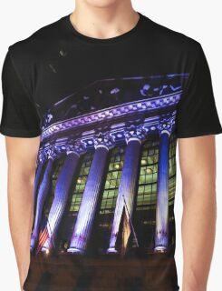 Purple New York Stock Exchange at Night - Impressions Of Manhattan Graphic T-Shirt