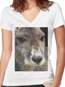 Red Kangaroo Women's Fitted V-Neck T-Shirt