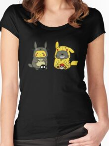 Totoro and Pikachu Onesies  Women's Fitted Scoop T-Shirt