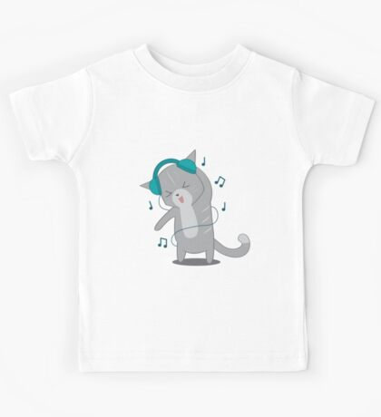 Blue Headphone Cat Kids Tee