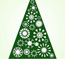 Pine Tree Snowflakes - Green by Anastasiya Malakhova