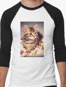 Tabby kitten in vintage colours Men's Baseball ¾ T-Shirt