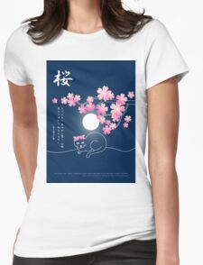 Pretty Cat Pink Japanese Sakura Cherry Blossoms Blue Night Womens Fitted T-Shirt