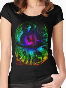 Psychadelic Mushroom Alice in Wonderland Women's Fitted Scoop T-Shirt