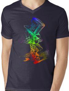 Psychedelic Mad Hatter Trippy Alice Mens V-Neck T-Shirt
