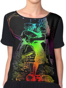 Psychedelic Alice With Colorful Flamingo Chiffon Top