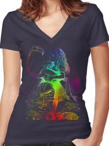 Psychedelic Alice With Colorful Flamingo Women's Fitted V-Neck T-Shirt