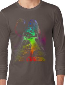 Psychedelic Alice With Colorful Flamingo Long Sleeve T-Shirt