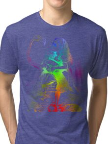 Psychedelic Alice With Colorful Flamingo Tri-blend T-Shirt