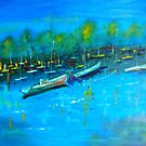 The Marina at Yamba NSW 120 X 100 cm oil on stretched canvas by Margaret Morgan (Watkins)