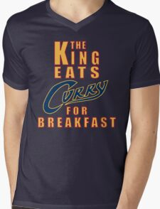 The King Eats Curry - Navy Mens V-Neck T-Shirt