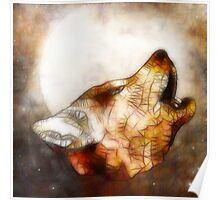 abstract howling wolf Poster