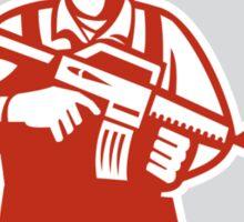 Soldier Serviceman Military Assault Rifle Shield Retro Sticker