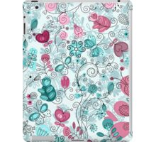 doodle flowers and butterflies iPad Case/Skin