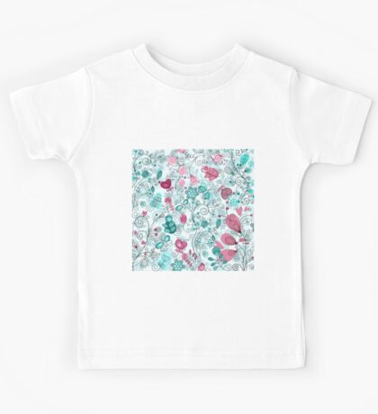doodle flowers and butterflies Kids Tee