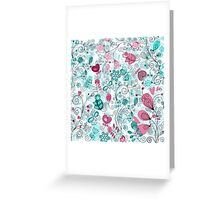 doodle flowers and butterflies Greeting Card